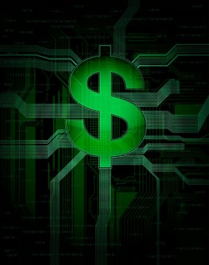 Illustration of virtual, electronic money