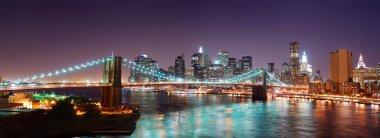 New York City Manhattan skyline Brooklyn Bridge panorama