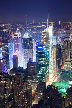 Times Square aerial view at night