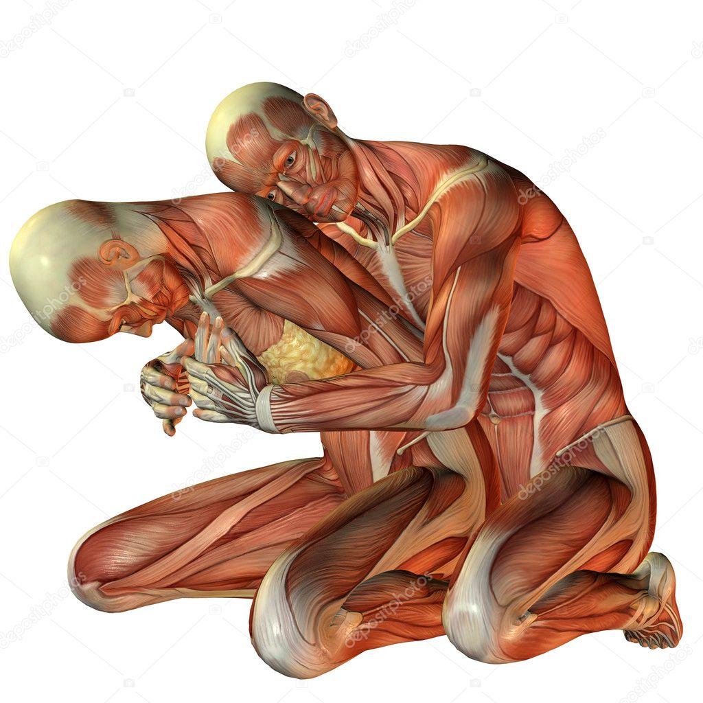 Frau von hinten umarmt Kraftprotz — Stockfoto © DigitalArtB #4603345