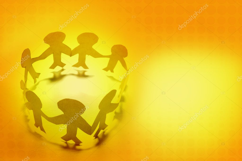 Paper doll family holding hands stock vector