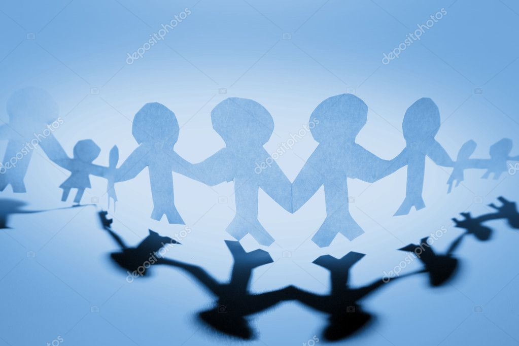 Blue holding hands together stock vector
