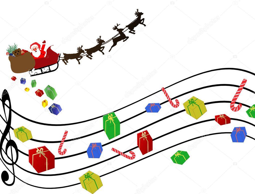 Musical Christmas background — Stock Vector © roxanabalint #4420708