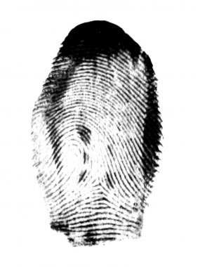 Fingerprint black on white stock vector