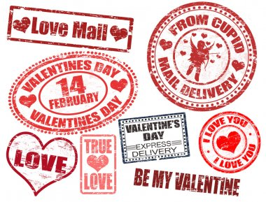 Collection of isolated grunge Valentine's Day stamps on white background clip art vector