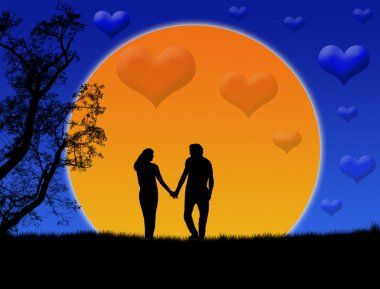 Background illustration with silhouette of a loving couple on beautiful sunset stock vector