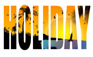 Holiday title with a tropical scene in the background, vector illustration clip art vector