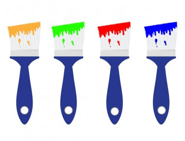 Colored paint brushes