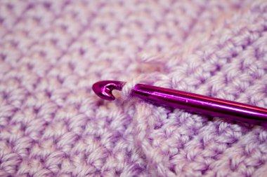 Purple Yarn with crochet hook