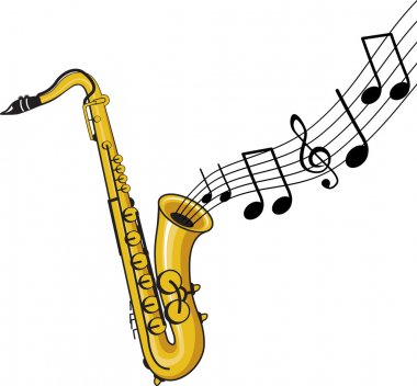 Saxophone with music notes clip art vector