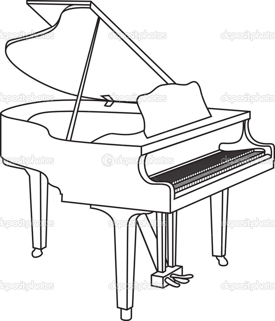 Line Drawing Keyboard : Piano — stock vector jameschipper