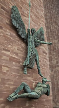 Angel Gabriel banishes Lucifer at Coventry Cathedral in Coventry