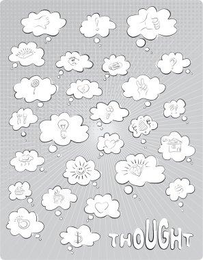 The set of grey vector thought bubbles clip art vector