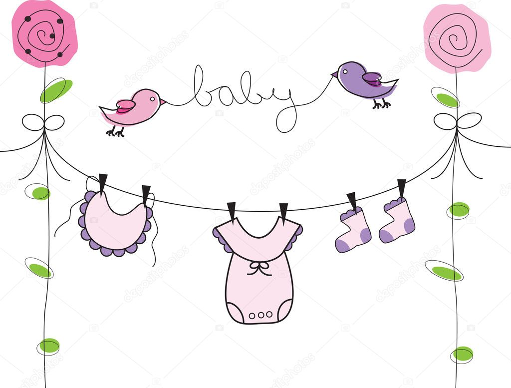 Baby Girl Clothes Line — Stock Vector © keeweegirl #5193592