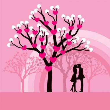 Lovely vector illustration of lovers kissing under a love tree. clip art vector