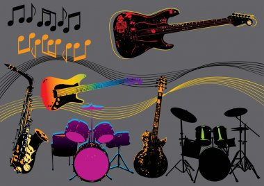 Vector design set with different music instruments. More music images in my portfolio. clip art vector