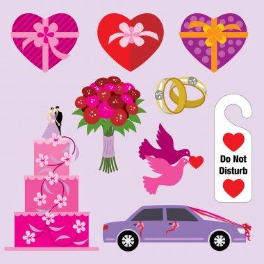 Vector illustration of wedding symbols. clip art vector