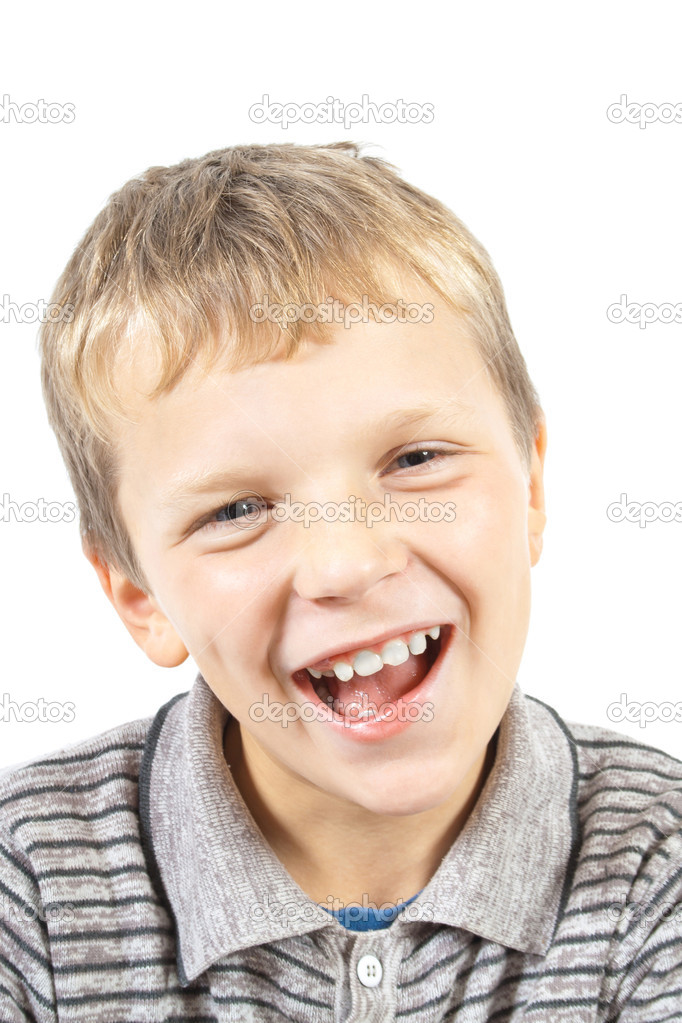 Laughing boy. Ten year old boy with braces laughing. shot on ...