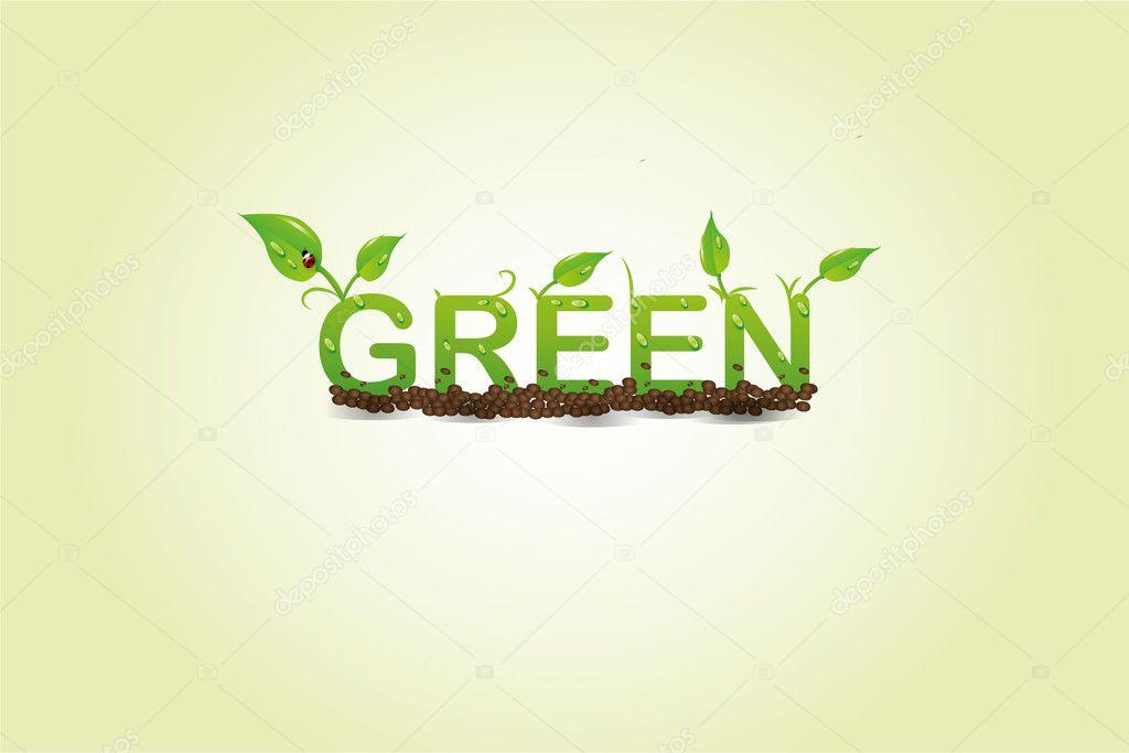 Vector green floral alphabet