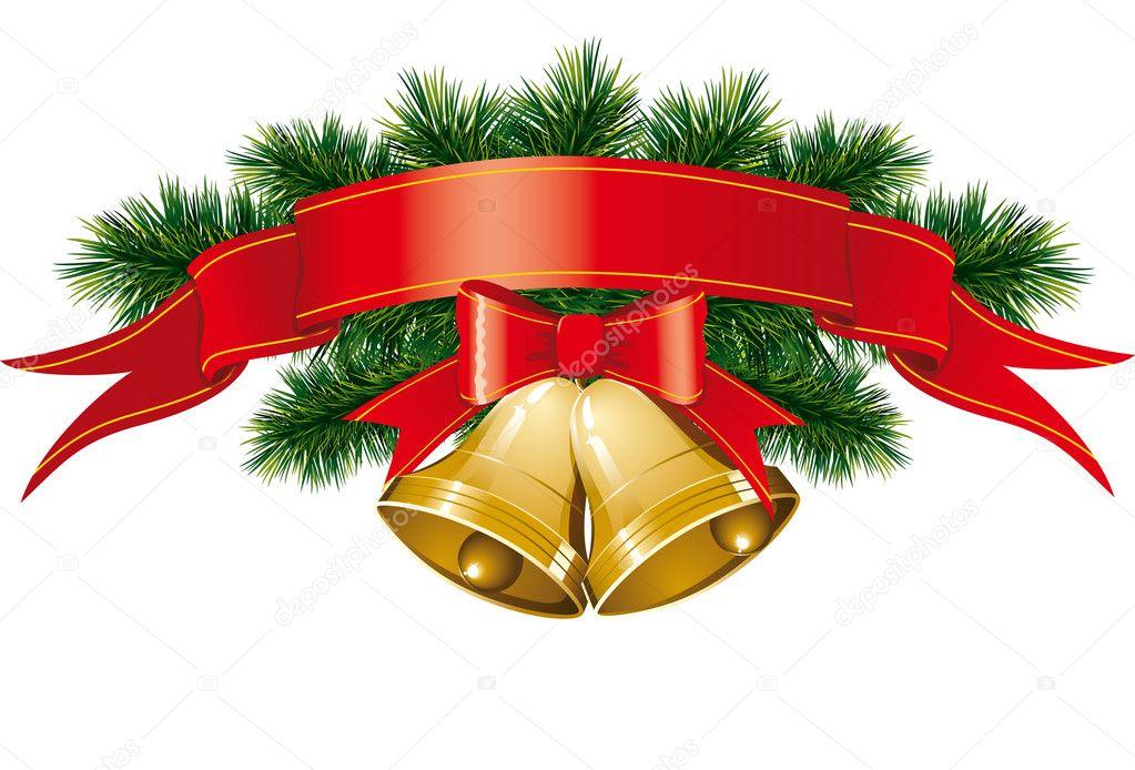 weihnachten glocken mit weihnachtsbaum stockvektor. Black Bedroom Furniture Sets. Home Design Ideas