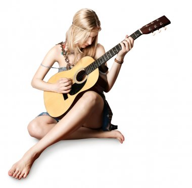 Hippie girl with the guitar
