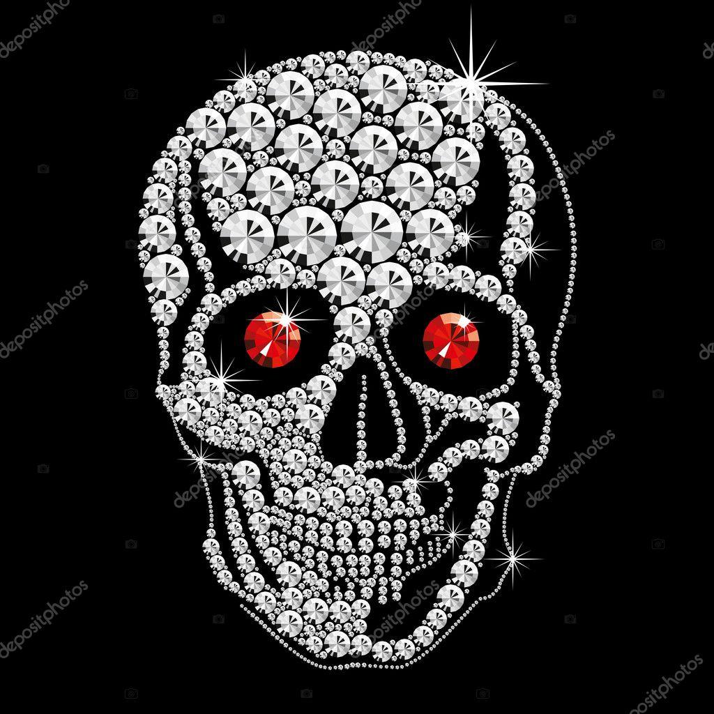 Diamant Schädel mit roten Augen — Stockvektor © leedsn #4345812