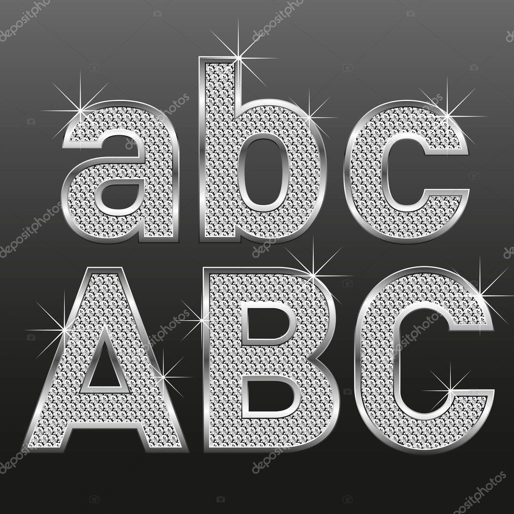 metall diamond letters and numbers big and small u2014 stock vector