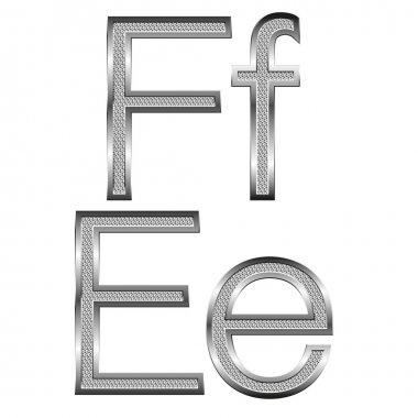 Thin diamond metal letters on white