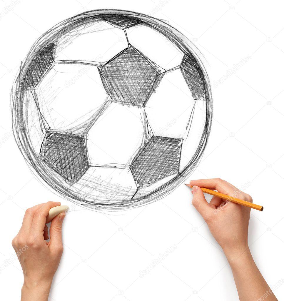 Fussball Fussball Und Hand Mit Bleistift Stockfoto C Leedsn