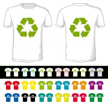 blank shorts of a different color with recycling symbol