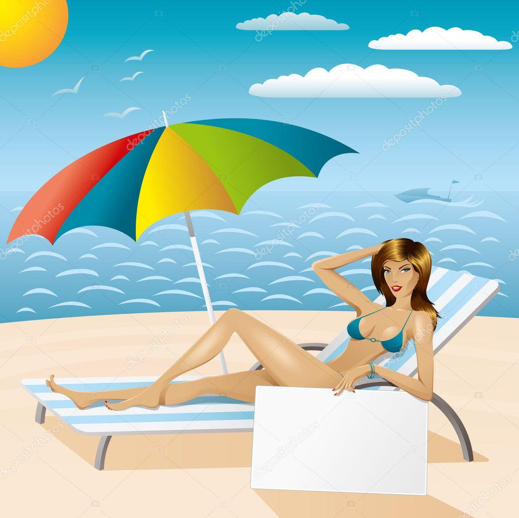 sexy woman in bikini on the beach with epmty board