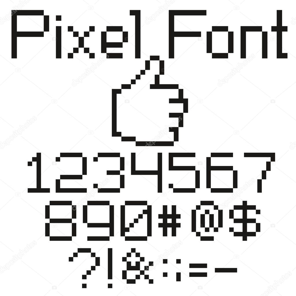 Pixel font — Stock Vector © leedsn #5274191