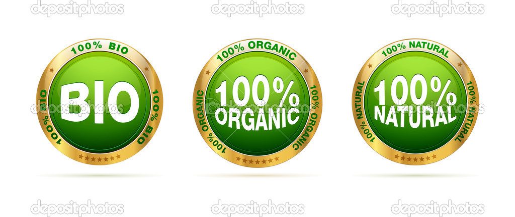 Bio, organic and natural badge set