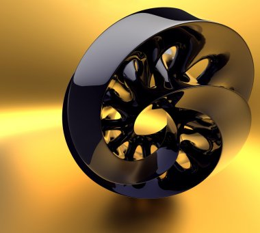 Black abstraction on the gold background