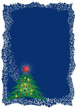 Frosty Christmas tree frame on blue background