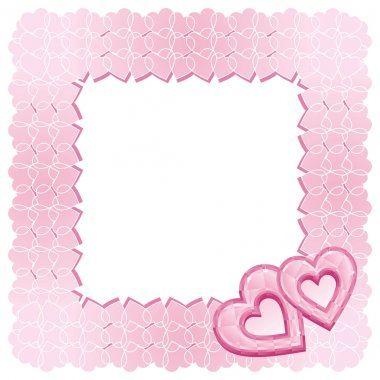 A square frame of two pink diamond hearts