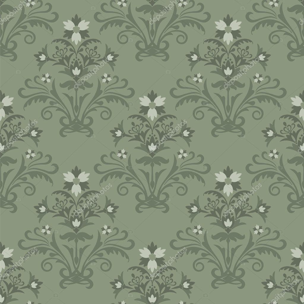 Nahtlose Grune Tapete Floral Stockvektor C Lina S 4262987