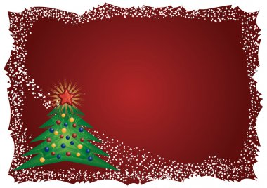 Icy Christmas tree frame on red background