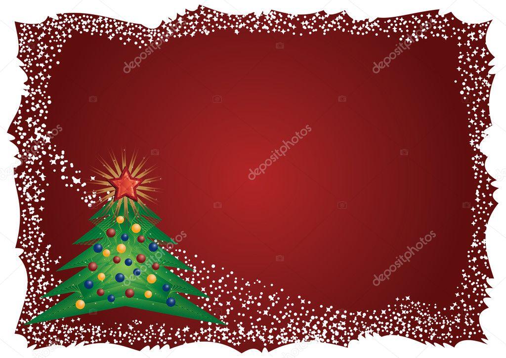árbol de Navidad helada marco sobre fondo rojo — Vector de stock ...