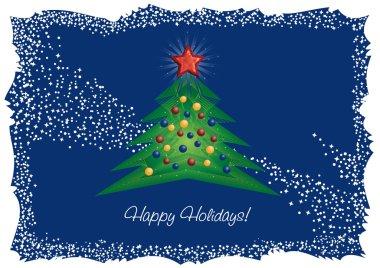 Christmas tree and diamond star greeting card