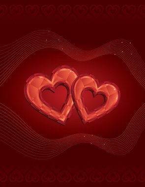 Two red diamond hearts