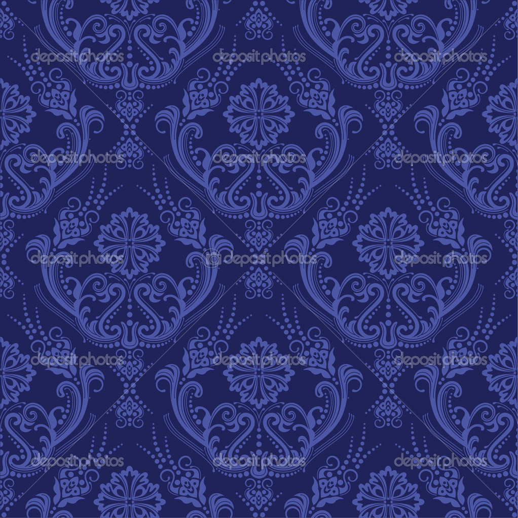 Luxury Dark Blue Purple Floral Damask Wallpaper This Image Is A Vector Illustration By Lina S