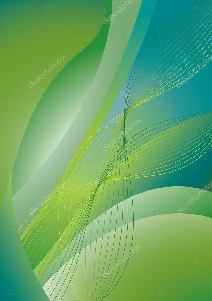 Abstract green and blue wavy background with flowing waves