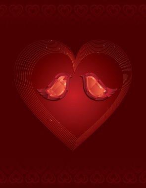 Two red diamond love birds