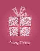 růžový narozeniny karta