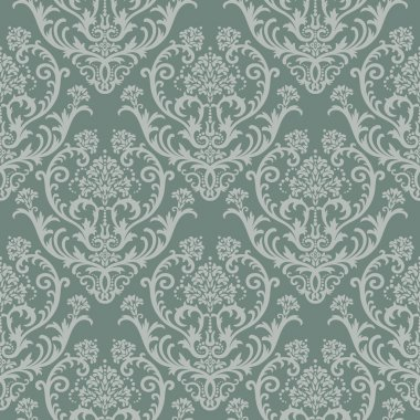 Seamless green floral damask wallpaper