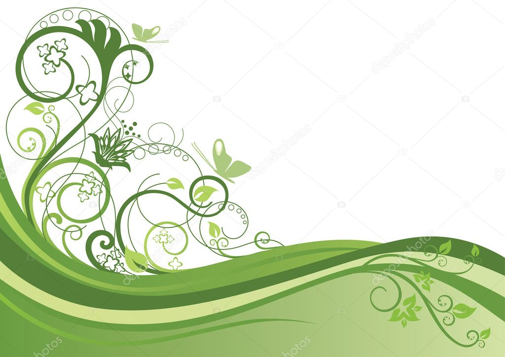 Green floral border — Stock Vector © lina_s #4551655