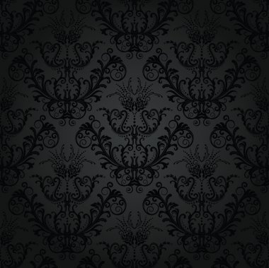 Seamless luxury charcoal floral wallpaper