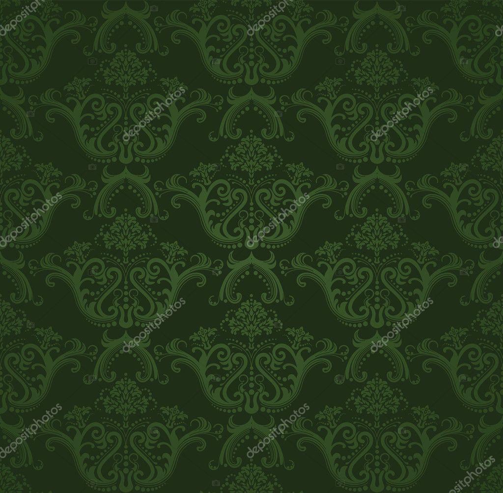 Green Flowers Wallpaper Seamless Dark Green Floral Wallpaper