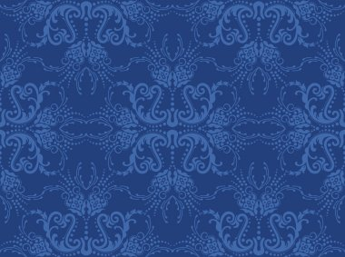 Seamless blue floral wallpaper